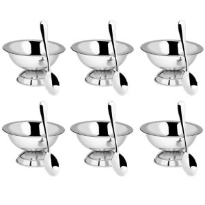 Conjunto Para Sobremesa 12 Peças Jogo De Taças Aço Inox
