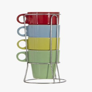 Jogo de Xícara Para Chá Café Com Suporte - 4 Peças - 210 ML