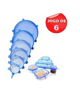 Jogo 6 Tampa de Silicone Pote Universal Flexível Atóxico Livre de BPA