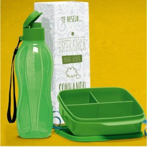 TUPPERWARE ECO TUPPER PLUS 500ML + BASIC LINE COM DIVISÓRIAS 550ML VERDE KIT 2 PEÇAS