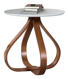 mesa lateral laqueada com base em madeira alice / tóquio