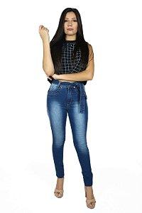Calça Hot Pants Jeans Claro Com Faixa Emane Modas