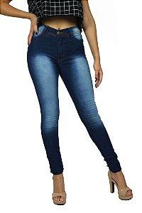 Calça de Cintura Alta com Lycra Jeans Escuro Com Lavagem Emane Modas Modo Z