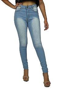 Calça de Cintura Alta com Lycra Jeans Claro Com Lavagem Emane Modas Modo Z