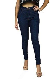 Calça de Cintura Alta com Lycra Jeans Escuro Básica Emane Modas Modo Z