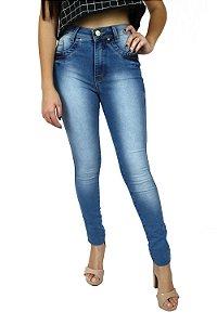 Calça de Cintura Alta Hot Pants Feminina Emane Modas Jeans Claro