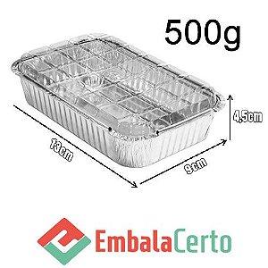 BANDEJA RETANGULAR ALUMÍNIO 500ML C/ TAMPA PLASTICA