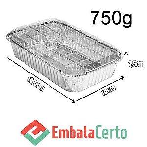 BANDEJA RETANGULAR ALUMÍNIO 750ML C/ TAMPA PLASTICA