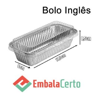 BANDEJA RETANGULAR ALUMÍNIO BOLO INGLÊS C/ TAMPA PLASTICA