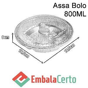 BANDEJA REDONDA DE ALUMÍNIO ASSA BOLO 800ML C/ TAMPA PLASTICA