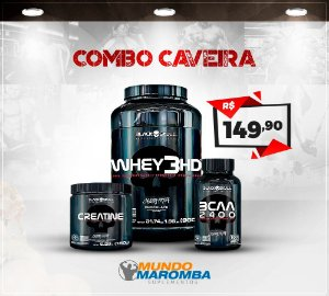 COMBO CAVEIRA BLACK SKULL: WHEY 3HD + BCAA 100 CAPS CAVEIRA + CREATINE 150G