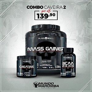 COMBO PARA GANHO DE MASSA BLACK SKULL - MASS GAINER 3KG + BCAA 100CAPS + CREATINA 150