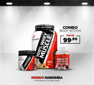 COMBO PARA GANHO DE MASSA MUSCULAR BODY ACTION - WHEY 100% + BCAA 90CAPS  + CREATINA 70G