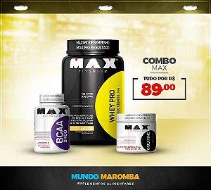 COMBO PARA GANHO DE MASSA MAGRA MAX TITANIUM 3 - WHEY PRO 1KG + BCAA 60 CAPS + CREATINA 100G