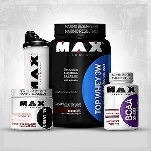 COMBO MAX TITANIUM TOP 3W + CREATINA 100G + BCAA 60 CAPS