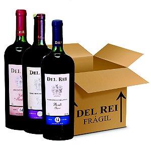 Box Misto - Vinho Del Rei com 6 Tinto Suave Bordo + 6 Tinto Suave 7-8 Cabernet e Bordo + 6 Tinto Velha Madeira Suave 1l - Box Com 18 Unidades