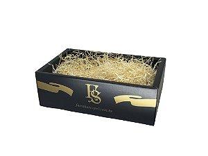 Cesta Família Scopel caixa baixa com celofane e laço - ideal para 06 a 12 itens