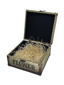 Maleta Flower Média com celofane e laço - ideal para 06 a 10 itens