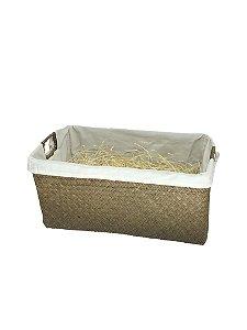 Cesta Palha com tecido Grande - com celofane e laço - ideal para 10 a 18 itens