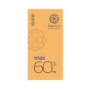 CHOCOLATE 60% CACAU COM GENGIBRE MENDOA 75G