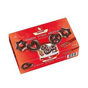 Biscoito Weiss Corações e Brezels de Chocolate Amargo 500g