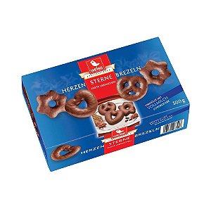 Biscoito Weiss Corações Estrelas e Brezels de Chocolate ao Leite 500g