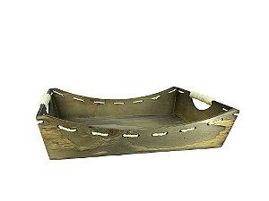 Bandeja Retangular em madeira - com celofane e laço - ideal para 08 a 12 itens