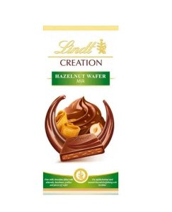 CHOCOLATE LINDT CREATION MILK WAFER AND HAZELNUT 150G