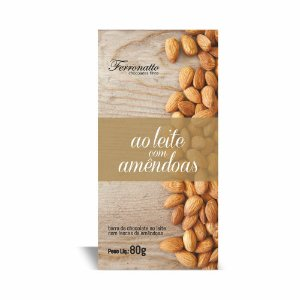 CHOCOLATE AO LEITE C/ LASCAS DE AMENDOAS FERRONATTO 80G