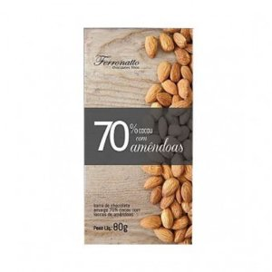 CHOCOLATE 70% C/ LASCAS DE AMENDOAS FERRONATTO 80G