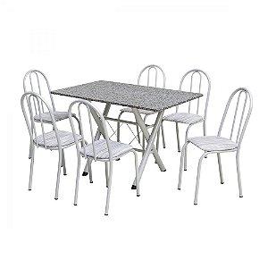 Conjunto De Mesa Artefamol Deise 6 Cadeiras Branca
