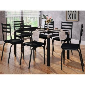 Conjunto De Mesa Artefamol Malva 6 Cadeiras Preta