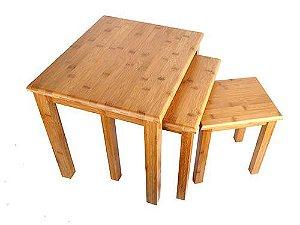 Conjunto de mesas em bambu Batiki 3 Peças