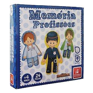 Jogo da Memória Profissões 24 Peças Madeira - Brincadeira de Criança
