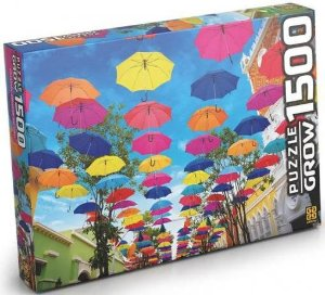 Quebra Cabeça Puzzle 1500 Peças Guarda Chuvas Ao Céu - Grow