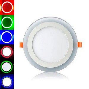 Luminária Plafon Neon Led Embutir Redondo RGB 18+6