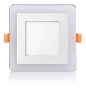Luminária Plafon Neon Led Embutir Quadrado Borda Azul 3+3W