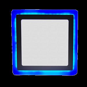 Luminária Plafon Led  Neon Led Embutir Quadrado Borda Azul 12+4W