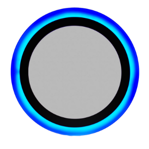 Luminária Plafon Neon Led Sobrepor Redondo Azul 18+6W