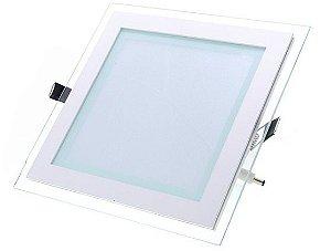 Luminária Plafon Led embutir quadrado borda vidro - 12w BF