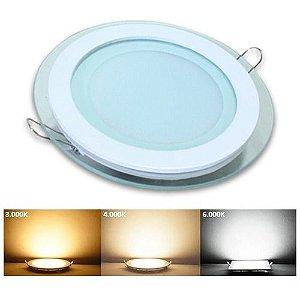Luminária Plafon Led embutir redonda borda de Vidro 6w - 3 cores
