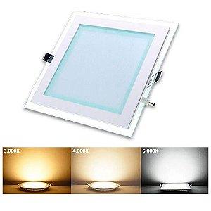 Luminária Plafon Led Embutir Quadrado Borda de Vidro 12w - 3 cores