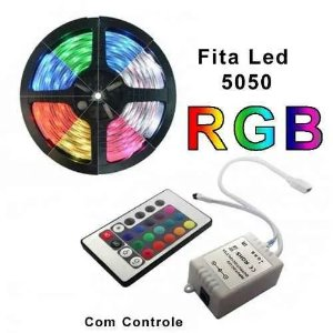 KIT Fita Led 5050 silicone 12v Fonte 2A IP65 RGB