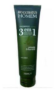 Shampoo Bio Extratus Homem 3 Em 1 Cevada E Hortelã 250ml