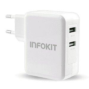 Carregador Turbo Infokit 3.0 2 Portas USB Bivolt Branco