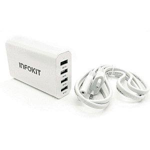 Infokit Carregador 40w USB Turbo QC2.0