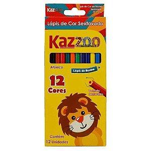Lápis de Cor 12 Cores Sextavado Kaz Zoo