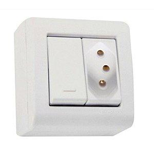 Conjunto caixa 1 interruptor simples 20A 250V + 1 tomada 2P+T 10A 250V - Tramontina