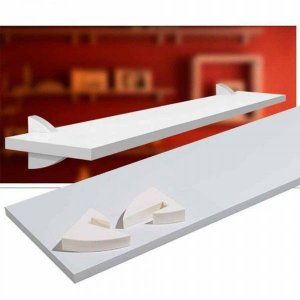 Prateleira Concept com Suporte Plástico Branco 20x60 Prat-K