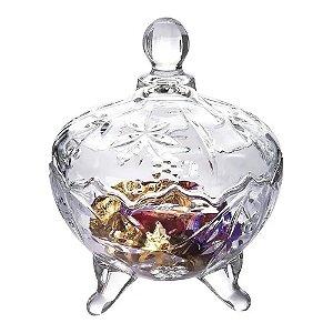 Bomboniere Wincy vidro c/ pé e tampa 20cm
